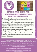 Teacher Well-being and Resilience Approaches from Positive Psychology - 21LCSP07 (Live Webinar)